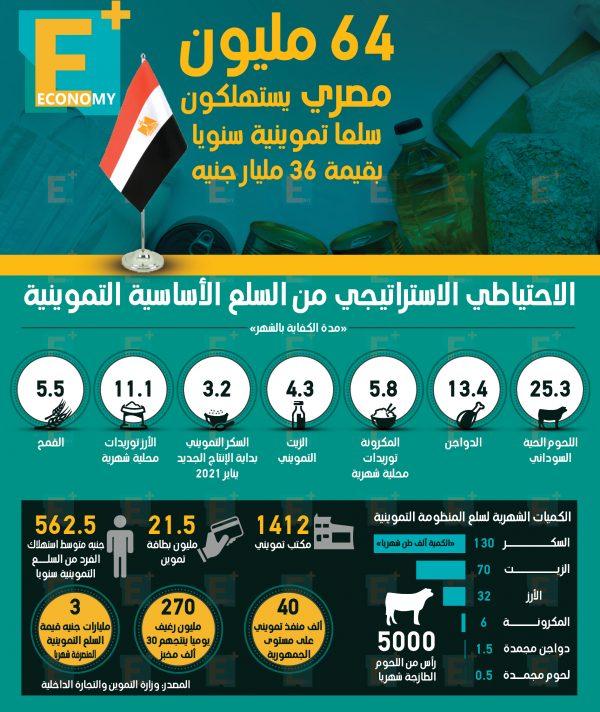 64 مليون مصري يستهلكون سلعا تموينية بقيمة 36 مليار جنيه سنويا
