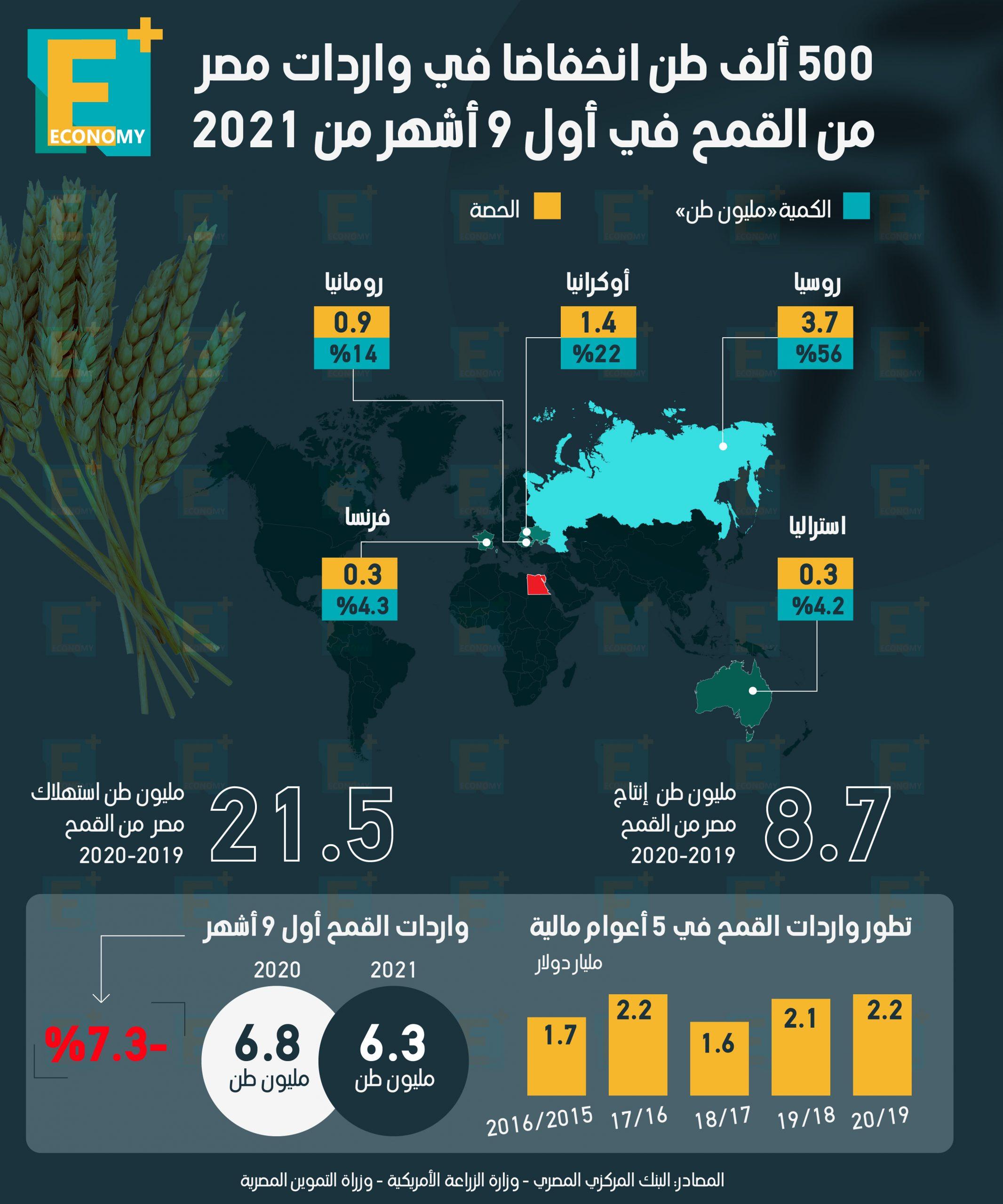 500 ألف طن انخفاضا في واردات مصر من القمح خلال أول 9 أشهر من 2021